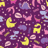Vector Girly Dinosaurs Roaring Seamless Pattern Royalty Free Stock Photography