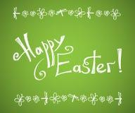 Vector glückliche Ostern-Hand, die Schablone mit Linie Insektenrahmen beschriftend gezeichnet wird Vektor Abbildung