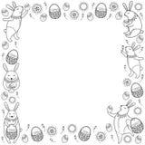 Vector glücklichen Ostern-Rahmen mit Entwurfsostern-Kaninchen, -ei und -korb, die auf weißem Hintergrund lokalisiert werden Karik Stockfotografie