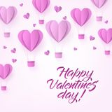 Vector glücklichen Valentinsgrußtagesheißluftherzballon Stockbilder