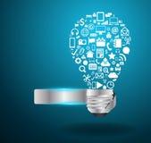 Vector Glühlampeidee mit Sozialmedien applicati Lizenzfreie Stockfotografie