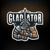1 Vector gladiator. Roman gladiator. Logo, emblem on a dark background stock illustration