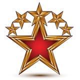 Vector glamorous glossy design element, branded 3d golden stars, Stock Photography