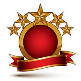 Vector glamorous round element with red filling, 3d polished fiv Royalty Free Stock Photos