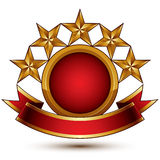 Vector glamorous round element with red filling, 3d polished fiv Stock Photos