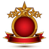 Vector glamorous round element with red filling, 3d polished fiv Royalty Free Stock Photography