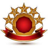 Vector glamorous round element with red filling, 3d polished Royalty Free Stock Photo