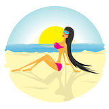 vector Glamour fashionable beach girl. Royalty Free Stock Images