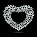 Vector glanzend diamanthart op zwarte achtergrond Royalty-vrije Stock Foto's