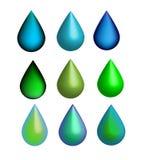 Vector 6 glanzende dalingen 3D reeks, groene en blauwe pictogrammen, water, ecologie, aard Stock Foto's