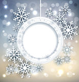 Vector glanzende vakantieachtergrond met sneeuwvlokken en kader Stock Foto