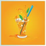 Vector glas jus d'orange met ijs Stock Afbeelding