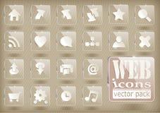 Vector glaspictogrammen Royalty-vrije Stock Afbeeldingen