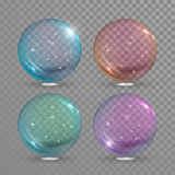 Vector glass ball with air bubbles inside Royalty Free Stock Images