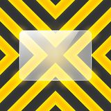Vector glass banner on black and yellow stripes Stock Images