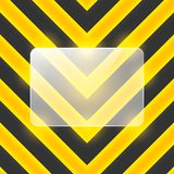 Vector glass banner on black and yellow stripes Stock Photos