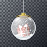 Vector glass bauble with red present. Transparent Christmas glass bauble filled with snow and present Stock Image