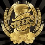 Vector glass of beer on black background for menu Royalty Free Stock Images