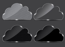 Vector glass button with cloud icon Royalty Free Stock Photos