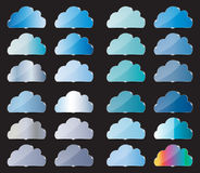 Vector glass button with cloud icon Stock Photo
