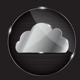 Vector glass button with cloud icon Royalty Free Stock Photography