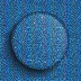 Vector glass circle button on shiny blue sequins. Stock Photo