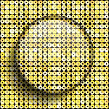 Vector glass circle button on shiny gold sequins. Royalty Free Stock Photo