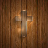 Vector glass cross on wooden background Stock Photography