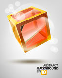 Vector glass cube. Vector colored abstraction on gray Stock Photos