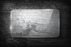 Vector glass frame on vintage wooden background stock illustration