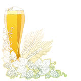 Vector glass of froth beer with ornate wreath of Hops and barley ears  on white. Contour hops, barley for Oktoberfest. Vector glass of froth beer with ornate Royalty Free Stock Image