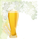 Vector glass of froth beer with ornate wreath of Hops and barley ears  on white. Contour hops, barley for Oktoberfest. Vector glass of froth beer with ornate Royalty Free Stock Photo