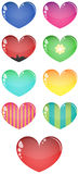 Vector glass hearts, isolated Stock Photo