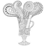 Vector glass of hot wine in zentangle, doodle style. Hand drawn Stock Photos