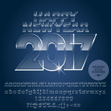Vector glass ice Happy New Year 2017 greeting card. With set of letters, symbols and numbers. File contains graphic styles Stock Photos