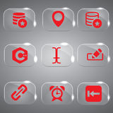 Vector Glass Icons Set Red Color. Best Red icons set for web Royalty Free Stock Photo