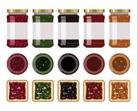 Vector glass jam jars stock illustration