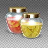 Vector Glass jars of jam. On a plaid background, vector illustration royalty free illustration
