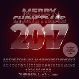 Vector glass Merry Christmas 2017 greeting card Royalty Free Stock Photography