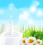 Vector glass of milk, daisies on a background Stock Image