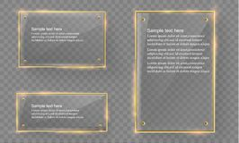 Vector glass modern banner set with shiny golden metallic frame on transparent background. Stock Photography