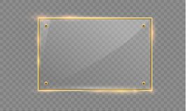 Vector glass modern banner set with shiny golden metallic frame on transparent background. Stock Photo