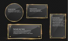 Vector glass modern banner set with shiny golden metallic frame on transparent background. Royalty Free Stock Photo