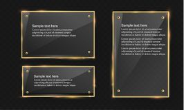 Vector glass modern banner set with shiny golden metallic frame on transparent background. Royalty Free Stock Images