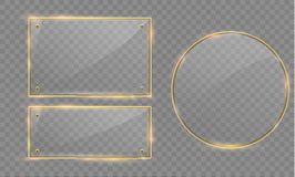 Vector glass modern banner set with shiny golden metallic frame on transparent background. Stock Image