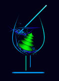 Vector glass with new year tree Royalty Free Stock Photography