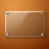 Vector glass plate for your signs, on wooden Royalty Free Stock Photography
