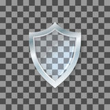 Vector glass shield. Defense icon. Protection concept. Royalty Free Stock Photo