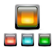 Vector glass square buttons with gray frame Royalty Free Stock Images