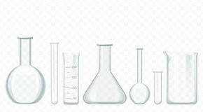 Vector glass test tubes isolated on white. Laboratory glassware equipment. royalty free illustration